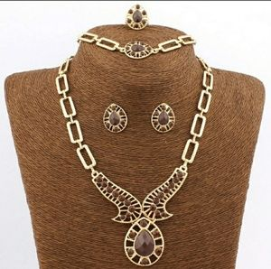 Vintage Gold-Plated African Beaded Necklace Set